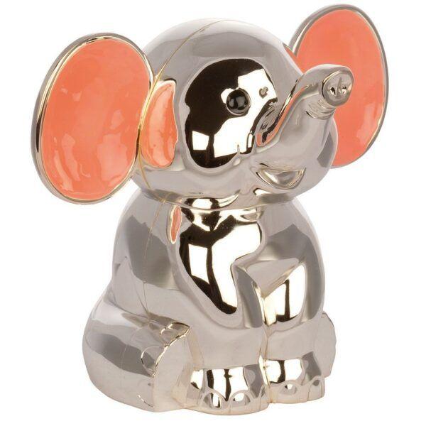 Elefant med pink ører sølvplet sparebøsse-0