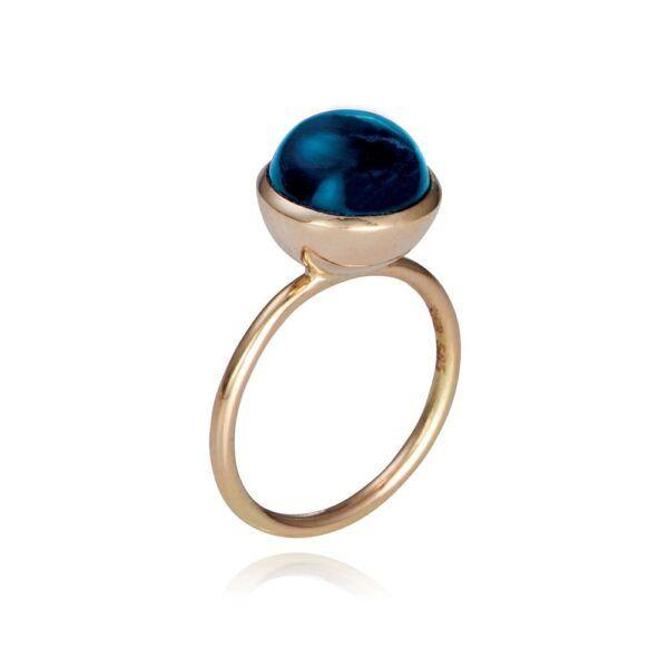 Susanne Friis Bjørner - Guld ring med London blue topaz - 1745-5-0
